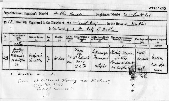 Death cert. of Catherine Heatley